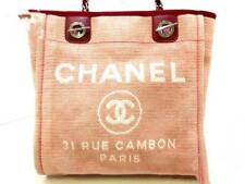 b9b3440b659a CHANEL Deauville Line Canvas Leather Chain Shoulder Hand Tote Bag Pink White