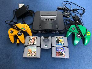 Nintendo 64 Console Bundle + 2 Controllers + 4 Games + Transfer Pak VGC