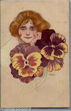 NEL MONDO DI FLORA Floral Goddes Girl with Violets Flowers PC Viaggiata 1916