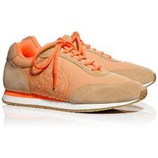 NEW TORY BURCH Davies Tan/Neon Orange Mesh Suede Sneaker Trainer 7.5