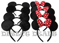 8 pcs Minnie Mickey Mouse Ears Headbands Black Red Polka Dot Bow Party Favors