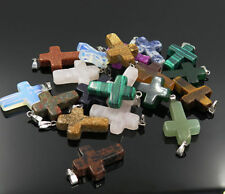 Fashion Natural Cross Gemstone stone Silver P Beads Pendant 10pcs/lot Wholesale