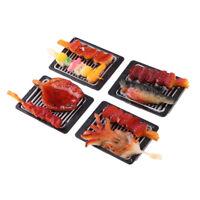 4pcs Nourriture Plaque de Barbecue Plastique Miniature pour 1/6 Maison de