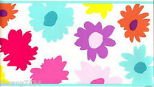 Pink Yellow Purple Blue Daisy Floral FLOWER POWER Girl Kid Wall paper Border