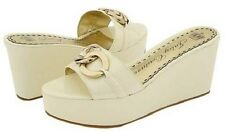Juicy Couture CANDACE Cream Vintage Patent Leather Wedge Platform Sandals  9.5 M