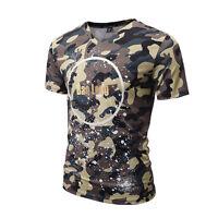SUMMER Men's 3D V neck T-shirt Camouflage Short Sleeve Stretch Tops Basic Tee