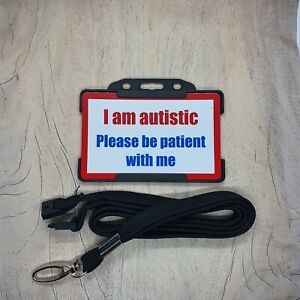 Autism Autistic Hidden Disability Lanyard Card with holder
