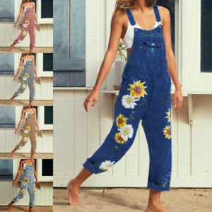 Womens Daisy Print Casual Jumpsuit Denim Rompers Sleeveless Jeans Casual Pants