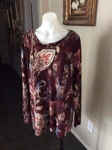 Chicos Plum Floral Knit Tunic Blouse Top Long Sleeve,  Sz-3(XL)