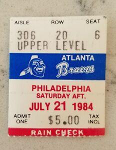 Atlanta Braves Philadelphia Phillies Baseball Ticket Stub 7/21 1984 Chambliss HR