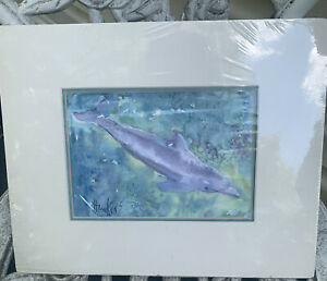 Dolphin painting Original watercolor painting Sign11x9