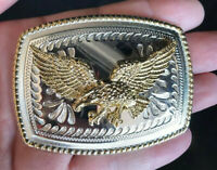 Silver Gold Eagle Belt Buckle Western Cowboy