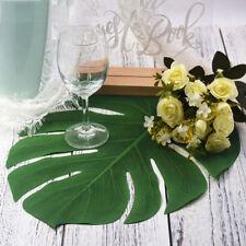 12pcs Artificial Fake Green Monstera Palm Tree Leaf Simulation Plant Home Decor