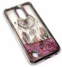 For LG V5 / K20 PLUS Silver Dream Catcher Pink Glitter Sparkle Liquid Skin Case