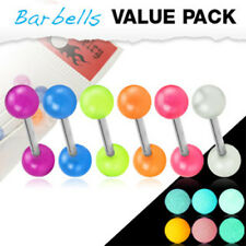 6 Color Glow In The Dark Acrylic Balls Surgical Steel Barbells Tongue Rings Pack