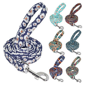 5ft Floral Nylon Dog Leash with Handle Pet Walking Lead Clip for Small Large Dog