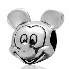 Mickey Mouse .925 Sterling Silver Charm Bead Fits European Bracelet Bangle S3085