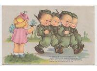 1943 Mariapia Tarjeta Postal Antigua Niños Amantes Miosotys Militares Soldados
