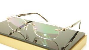 Authentic Paul Vosheront VT147 C1 Titanium Gold Rimless Eyeglasses Frame Italy