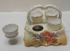 Victorian Porcelain Egg Cup Holder with Handle Four Footed Egg Cups Antique