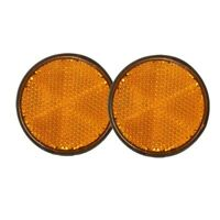 "2pcs 2"" Round Orange Reflector Universal For Motorcycle ATV Dirt Bike E5K2"