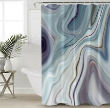 Blue Grey Marble Effect Shower Curtain Waterproof Bathroom Home Decor Hooks