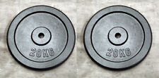 """2 x 20Kg Weight Discs, Cast Iron, 1"""" clearance hole, Plates for 1"""" Bars"""