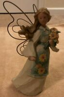 Wood Cut Angel Figurine - Wire Wings - Apron & Flowers - 7 Inches High