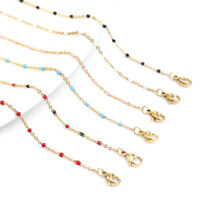 Stainless Steel Enamel Beads Link Chain Necklace DIY Jewellery Making Findings