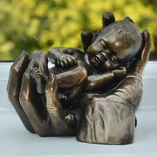 New Born Gift Bronze Baby In Hands Sculpture Figure Ornament LARGE H14cm 01105