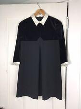 The Kooples Black Velvet Collard Mini Shift Tuxedo Dress EU 34, US 2, XS