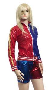 Girls Harley Suicide Squad Metallic Jacket Leggings or Hot Pants Shorts Red Blue