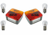 2 x SQUARE REAR 4 FUNCTION LAMPS with BULBS trailer board lights 'E' marked pair