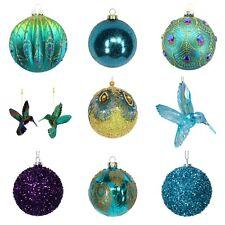 Peacock Christmas Tree Decorations Baubles - Gisela Graham - Glass Bauble Xmas