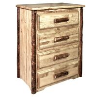 Rustic 4 Drawer Log Dresser Amish Made Lodge Cabin Style Chest of Drawers