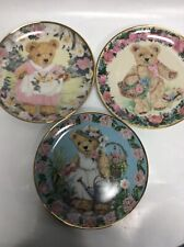 Franklin Mint Heirloom Collection Plates Teddys Limited Edition Floral Sping Lot