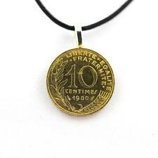 """Pendentif Pièce de Monnaie Authentique """" France """" 10 centimes Marianne + cordon"""