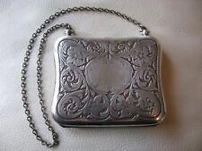 Antique Victorian Art Nouveau G. Silver Aide Memoire Mirror Card Case Coin Purse