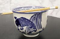 "Zen Pond Koi Fish Waterfall Ramen Noodles 5""D Soup Rice Bowl With Chopsticks Set"