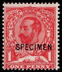 1911 KGV SG327s 1d Carmine (Die-A) Ovpt SPECIMEN MH OG CV £550