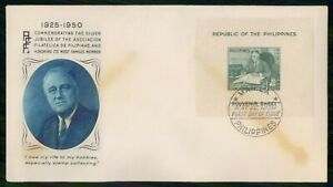 Mayfairstamps PHILIPPINE ISLANDS FDC 1950 COVER FRANKLIN ROOSEVELT SOUVENIR SHEE