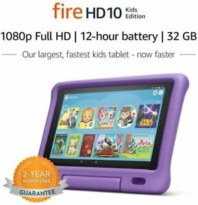 """Fire HD 10 Kids Edition Tablet – 10.1"""" 1080p full HD display, 32 GB, Purple Kid-"""