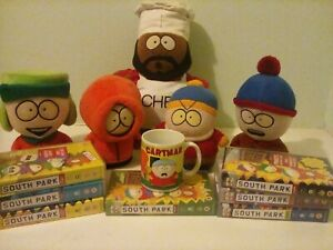 South park toys, videos, and cup for sale. All used and in good condition.