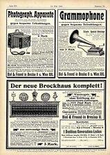 Photograph. Apparate Klapp- Kamera Grammophone Der neue Brockhaus Annoncen 1904