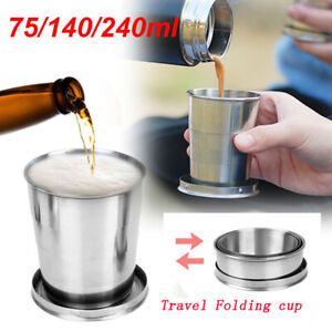 75/140/240ML Stainless Steel Cup Camping Folding Collapsible Telescopic Mini Mug