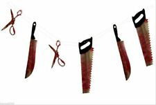 BLOODY WEAPON HANGING GARLAND HALLOWEEN PARTY DECOR GORY BLOOD STAINED SCARY