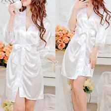 White Satin Lace Silk Female Underwear Lingerie Night-dress Sleepwear Robe WT