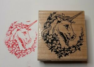 UNICORN ROSE PORTRAIT FACE FANTASY WILDLIFE STAMPENDOUS New WOOD RUBBER STAMP