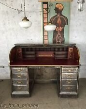 ANTIQUE INDUSTRIAL AMEIRCAN 1920'S STEEL ROLL TOP DESK. STUNNING ! L@@k!!!