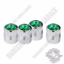 4 Chrome Billet Aluminum Swarovski® Green Diamond Wheel Valve Stem Dust Caps